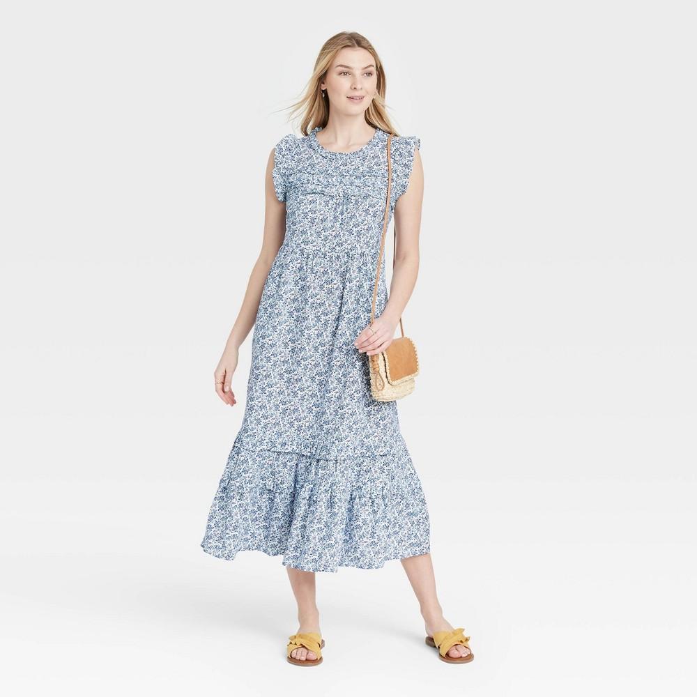 Women 39 S Floral Print Ruffle Sleeveless Dress Universal Thread 8482 Blue M