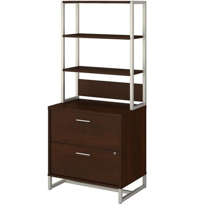 Office by kathy ireland 2-Drawer Lateral File Cabinet w/Hutch Locking Letter/Legal Walnut MTH012CWSU