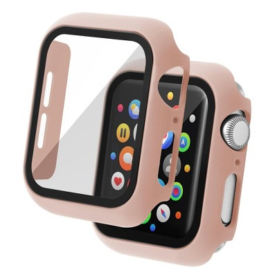 Insten Case Compatible with Apple Watch 40mm Series SE 6 5 4, Matte Hard Cover, Built in Tempered Glass Screen Protector, Full Protection, Pink