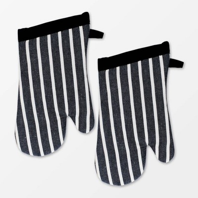 2pk Pinstripe Oven Mitt Black - MU Kitchen
