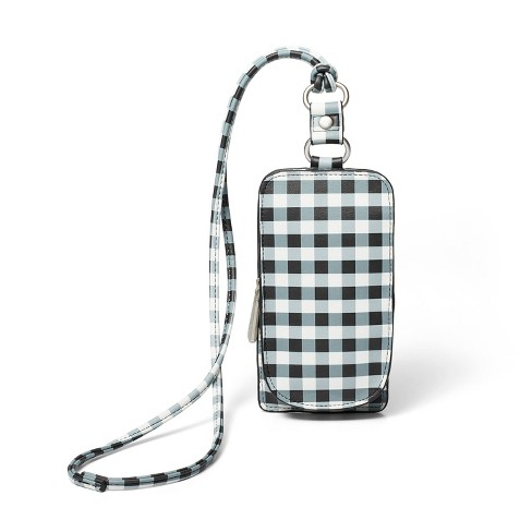 Gingham Zip Closure Phone Crossbody Bag - Sandy Liang x Target White/Black - image 1 of 4