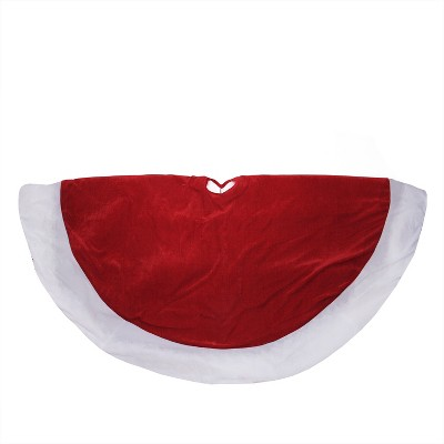 """Northlight 60"""" Red and White Solid Round Christmas Tree Skirt"""