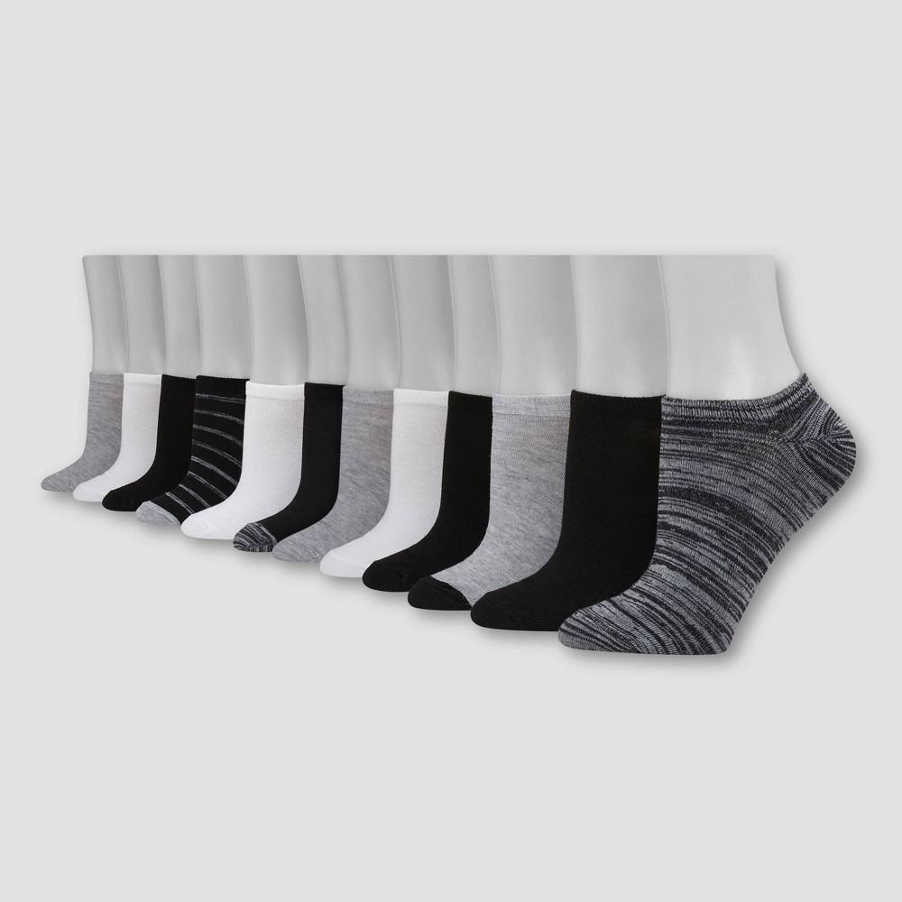 Hanes Women's 12pk No Show Socks - Black/Gray/White 5-9