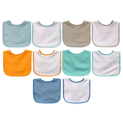 Neat Solution 10pk Water Resistant Baby Bib Set - Assorted Pastel Blues