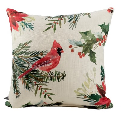 Christmas 16 0 Poinsettia Cardinal Pillow Berries Home Decor Decorative Pillow Target