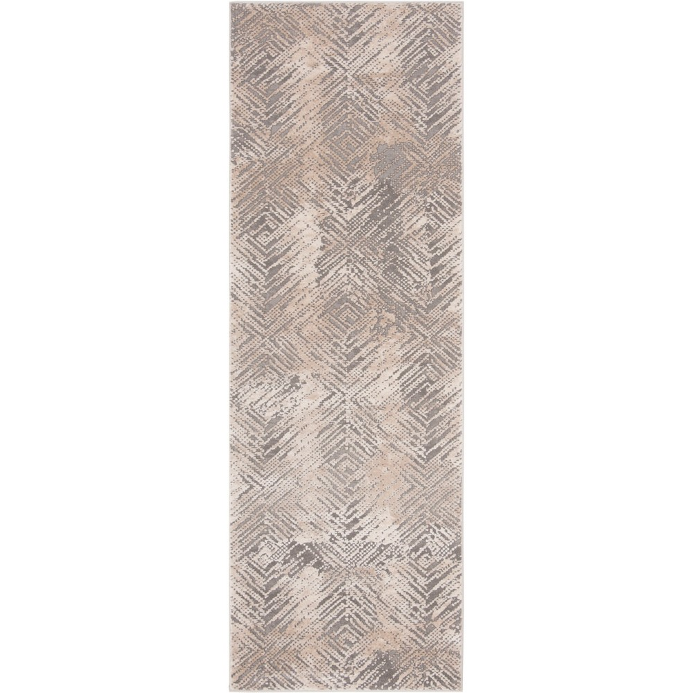 27X8 Geometric Loomed Accent Rug Ivory/Gray - Safavieh Coupons
