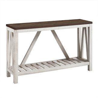 52u0022 A Frame Rustic Entry Console Table Top Dark Walnut - Saracina Home