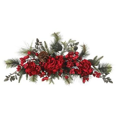 """30"""" Holiday Hydrangea Swag - Nearly Natural"""