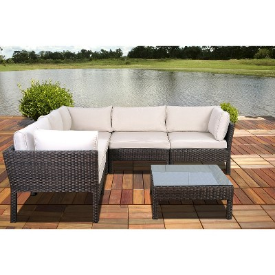 South Beach 6 Piece Wicker Patio Sectional Seating Furniture Set