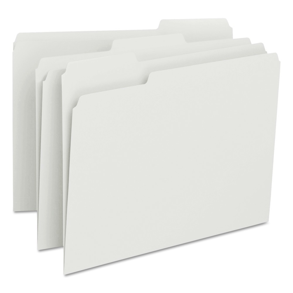 Smead File Folders, 1/3 Cut Top Tab, Letter, White, 100/Box