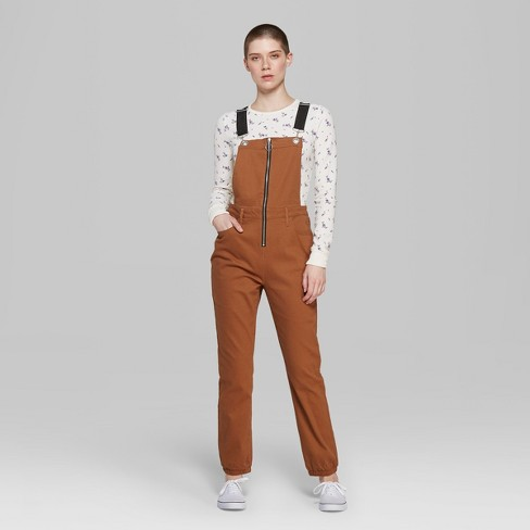 7a07e41728 Women s Strappy Zip Front Overall Jumpsuit - Wild Fable™ Rust   Target