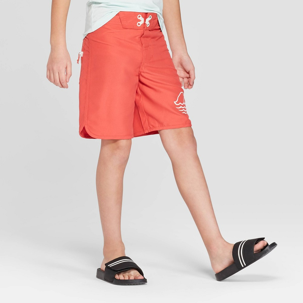 Boys' Solid Dolphin Hem Swim Trunks - art class Red 18