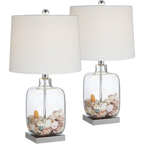 360 Lighting Coastal Accent Table Lamps Set of 2 Clear Glass Fillable Sea Shells White Drum Shade for Living Room Family Bedroom - image 1 of 4