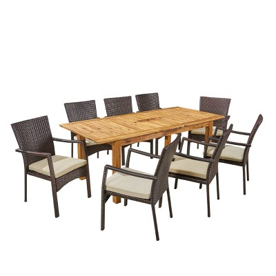 Davenport 9pc Wood & Wicker Expandable Dining Set - Natural/Brown/Cream - Christopher Knight Home
