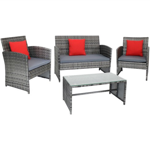 Ardfield 4pc Rattan Outdoor Conversation Set - Mixed Gray Rattan and Gray Cushions - Sunndyaze Decor - image 1 of 4