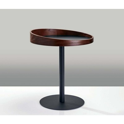 Crater End Table - Dark Walnut - Adesso