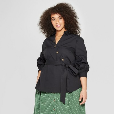 Women's Plus Size Long Sleeve Asymmetric Button Detail Belted Blouse   Who What Wear Black by Who What Wear Black