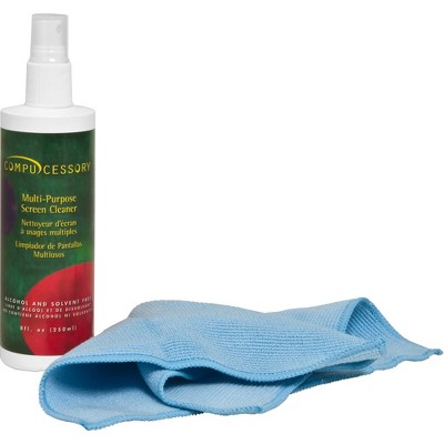 Compucessory Screen Cleaner Set Microfiber Cloth Spray Bottle No Alcohol 56268