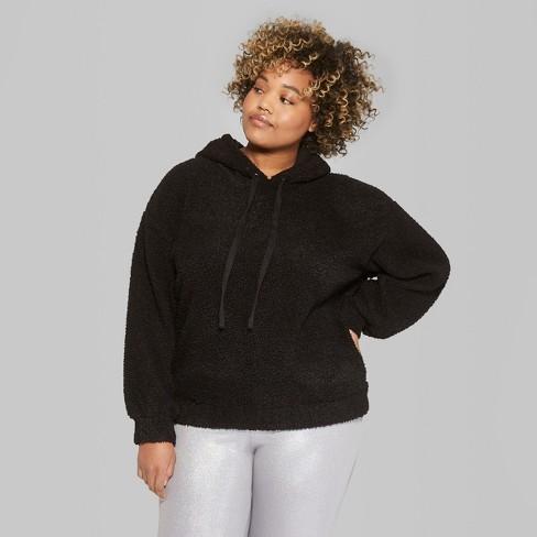 aa531572285 Women s Plus Size Oversized Fuzzy Hoodie - Wild Fable™ Black   Target