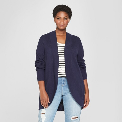 168a0dd4483 Women s Plus Size Cocoon Cardigan - Ava   Viv™ Navy 2X   Target