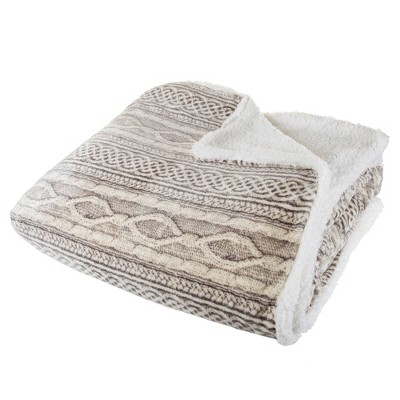 "86""x90"" Flannel/Sherpa Throw Gray/Beige - Hastings Home"