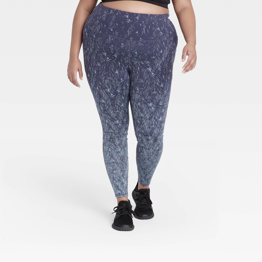 Women 39 S Plus Size Premium Simplicity High Waisted Textured 7 8 Leggings 25 34 All In Motion 8482 Navy 2x