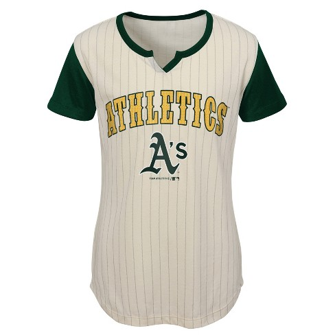 fd451d01ce7 Oakland Athletics Girls  In The Game Cream Pinstripe T-Shirt - S ...