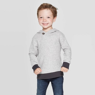 Toddler Boys' Double Knit Hooded Sweatshirt - Cat & Jack™ Heather Gray 12 M