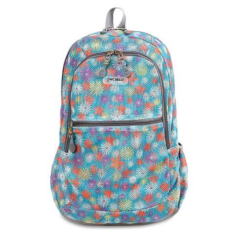 """J World 18"""" Mesh Backpack - Flower Power - image 1 of 4"""