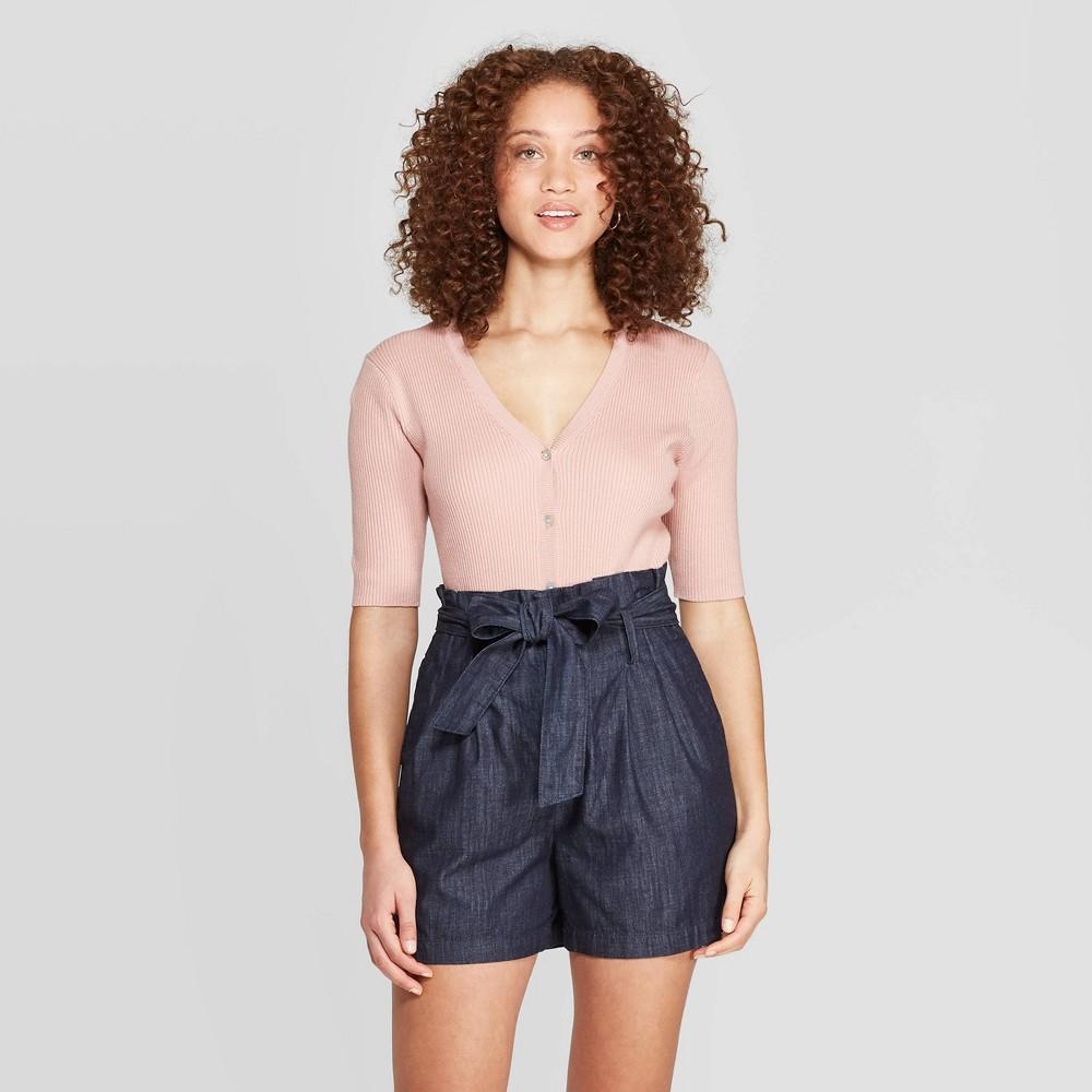 Women's Regular Fit Basic Sleeve V-Neck Cardigan - A New Day Light Pink XL