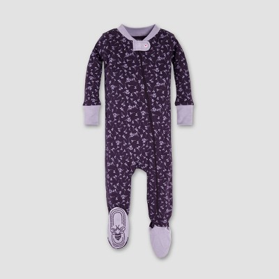 Burt's Bees Baby® Girls' Organic Cotton Dusty Dandelion Sleeper - Aubergine 0-3M