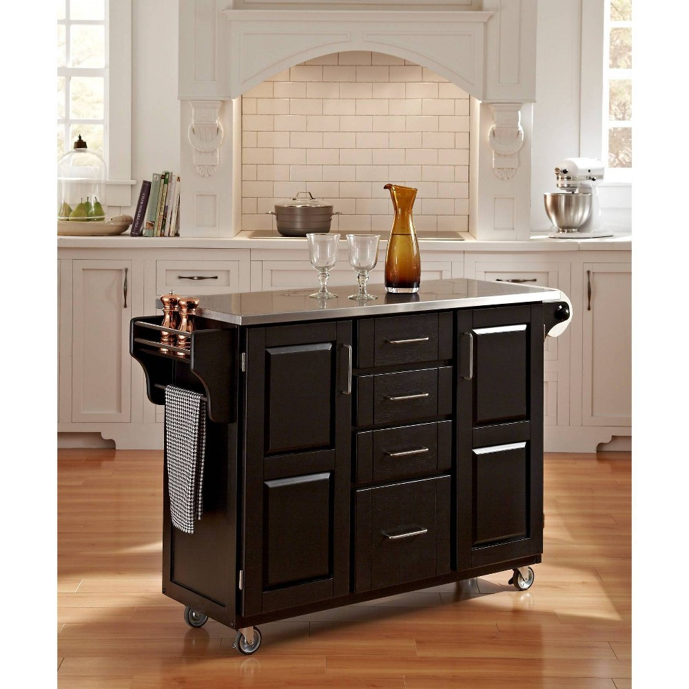 Kitchen Carts And Islands with Stainless Top Black/Silver - Home Styles