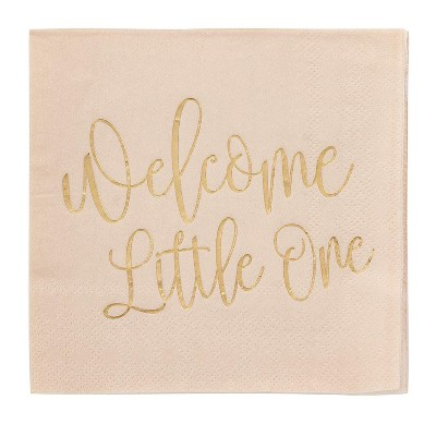 "Blue Panda 50-Pack Welcome Little One Disposable Paper Napkins 10"" Baby Shower Party Supplies"
