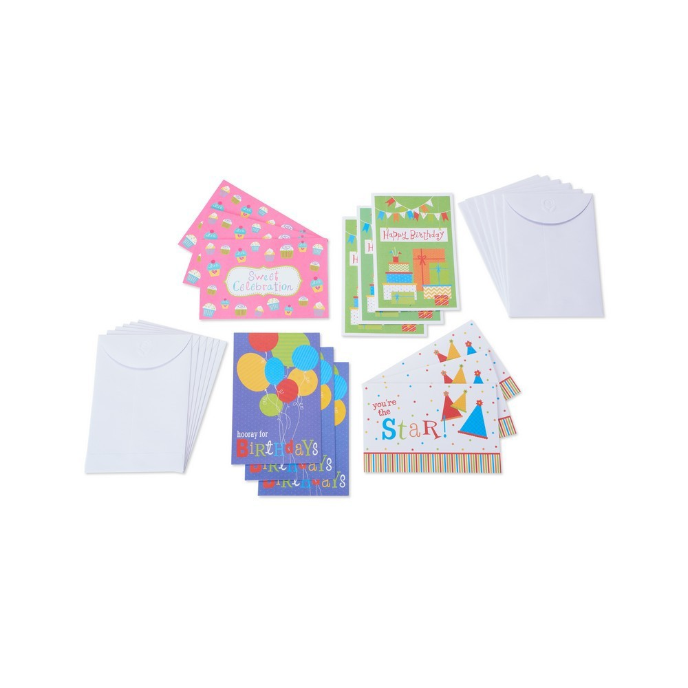 Image of 12ct Assorted Fun Happy Birthday Cards And Envelopes