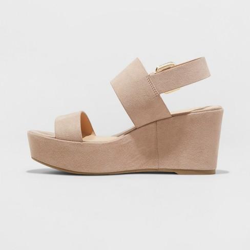 ca01cca3ca8 Women s Zenia Two Piece Flatform Slide Sandals - A New Day™ Taupe ...