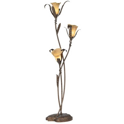 Franklin Iron Works Artistic Floor Lamp Bronze and Gold Lily Shaped Amber Glass Flower Lights for Living Room Bedroom Uplight