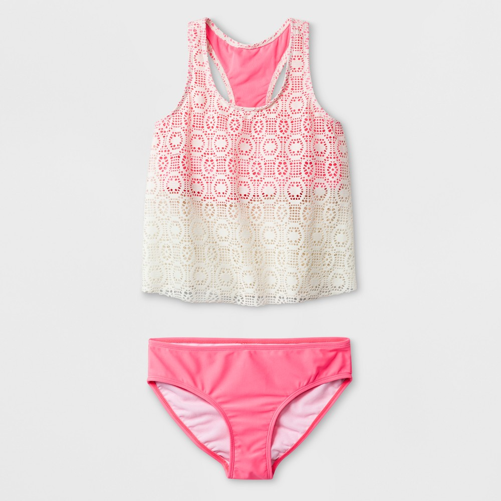 Malibu Dream Girl Girls' Effervescent Crochet Tankini Set - Pink 16, Red