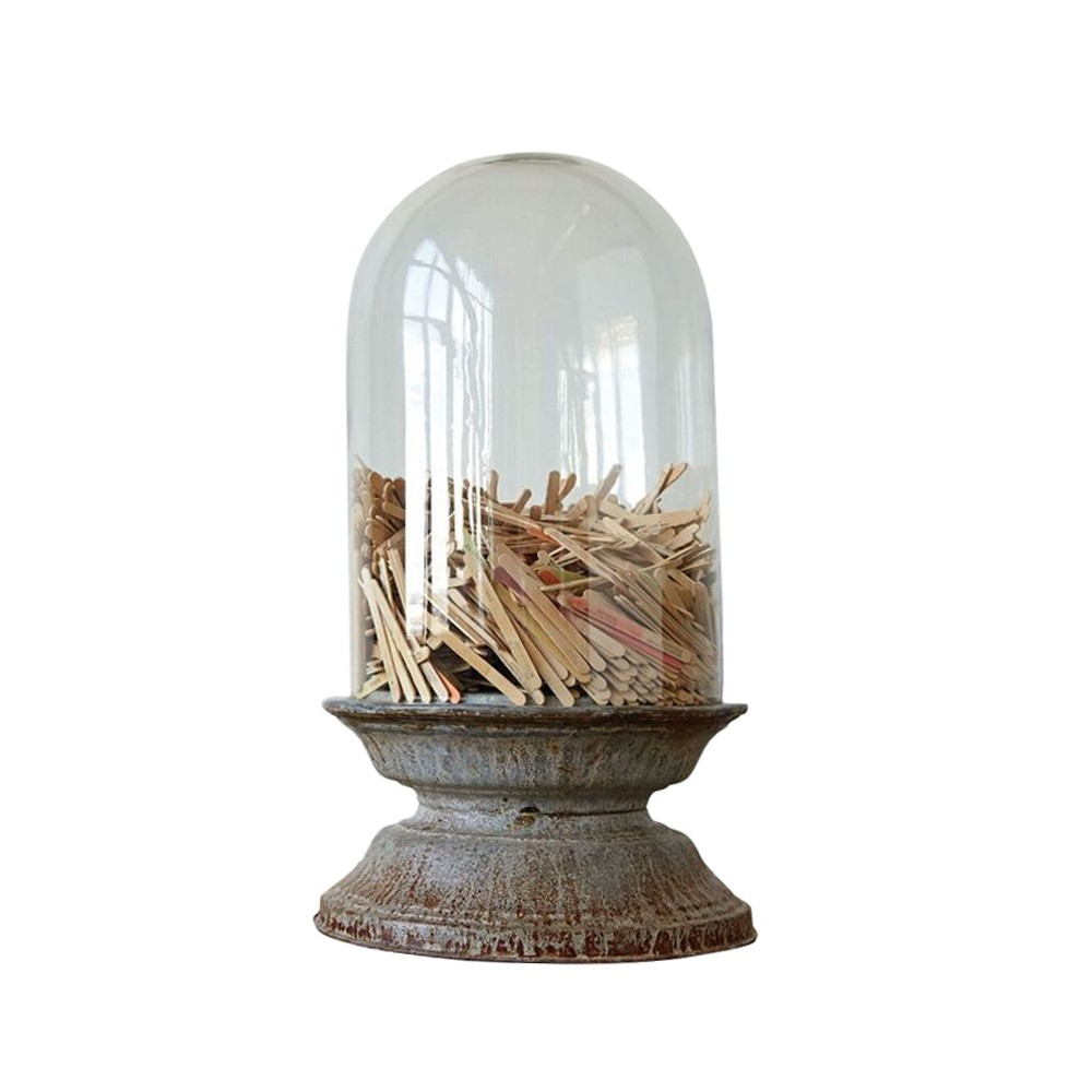 "Image of ""Glass Cloche with Zinc Base 25"""" - 3R Studios, Clear"""
