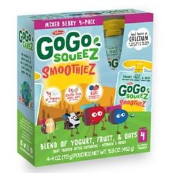 GoGo squeeZ Kids' SmoothieZ, Mixed Berry - 4oz/4ct