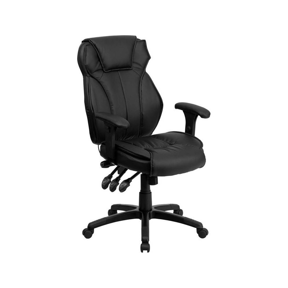 Executive Lumbar Support Swivel Office Chair Black Leather - Flash Furniture