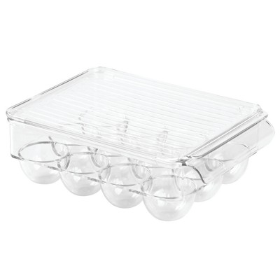 InterDesign Fridge Binz 12-Egg Holder with Lid Small Clear