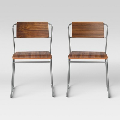 Set of 2 Killiam Mixed Material Sled Dining Chair Wood and Metal Silver - Project 62™