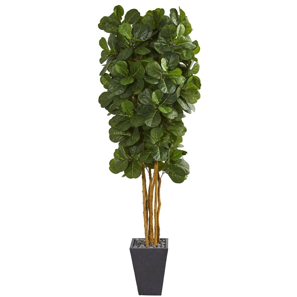 Image of 7.5ft Artificial Fiddle Leaf Tree in Slate Planter Green/Gray - Nearly Natural