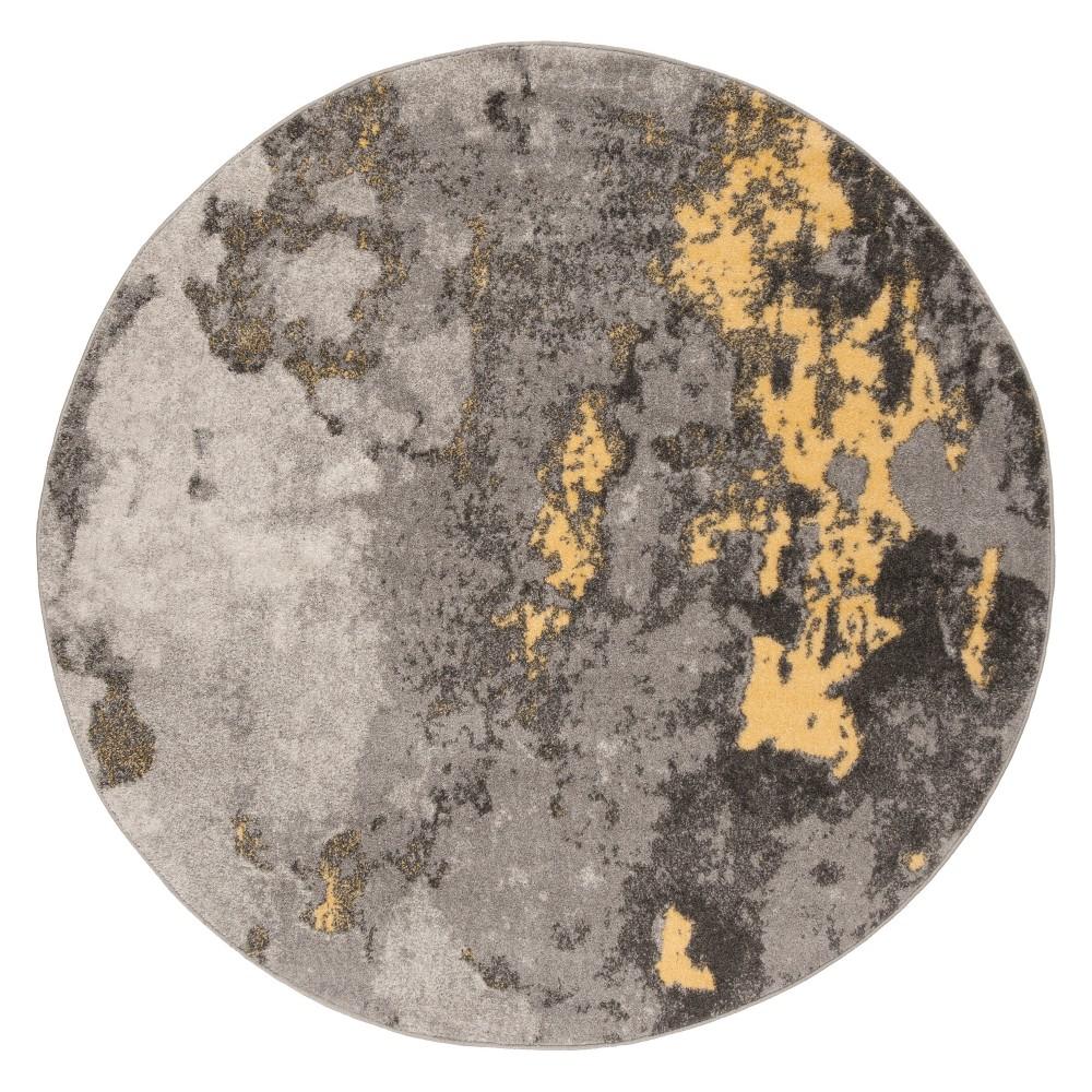 Gray/Yellow Splatter Loomed Round Area Rug 6' - Safavieh, Yellow Gray