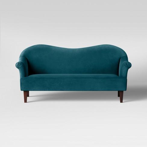 Esperanza Shaped Back Rolled Arm Sofa Velvet Teal  - Opalhouse™ - image 1 of 5