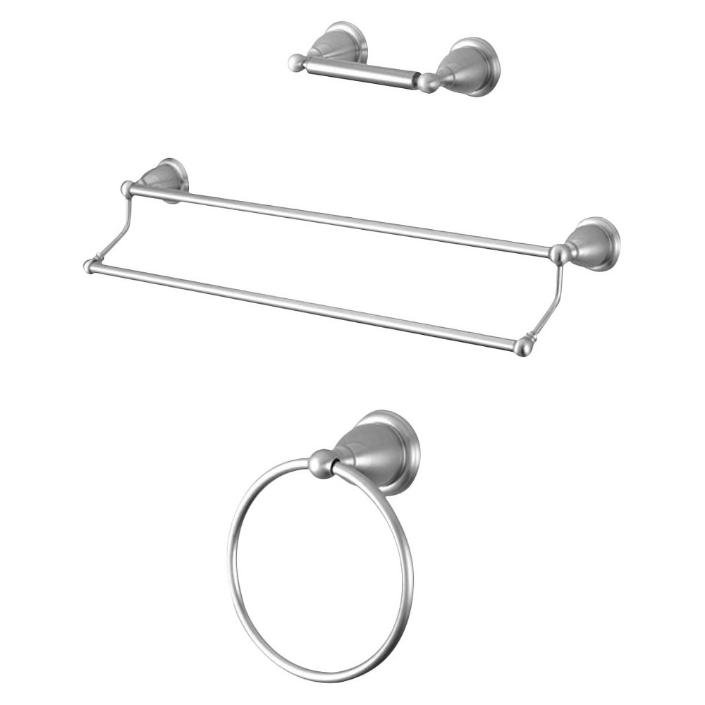 Image of Traditional Solid Brass Satin Nickel 3-piece Double Towel Bar Bath Accessory Set - Kingston Brass
