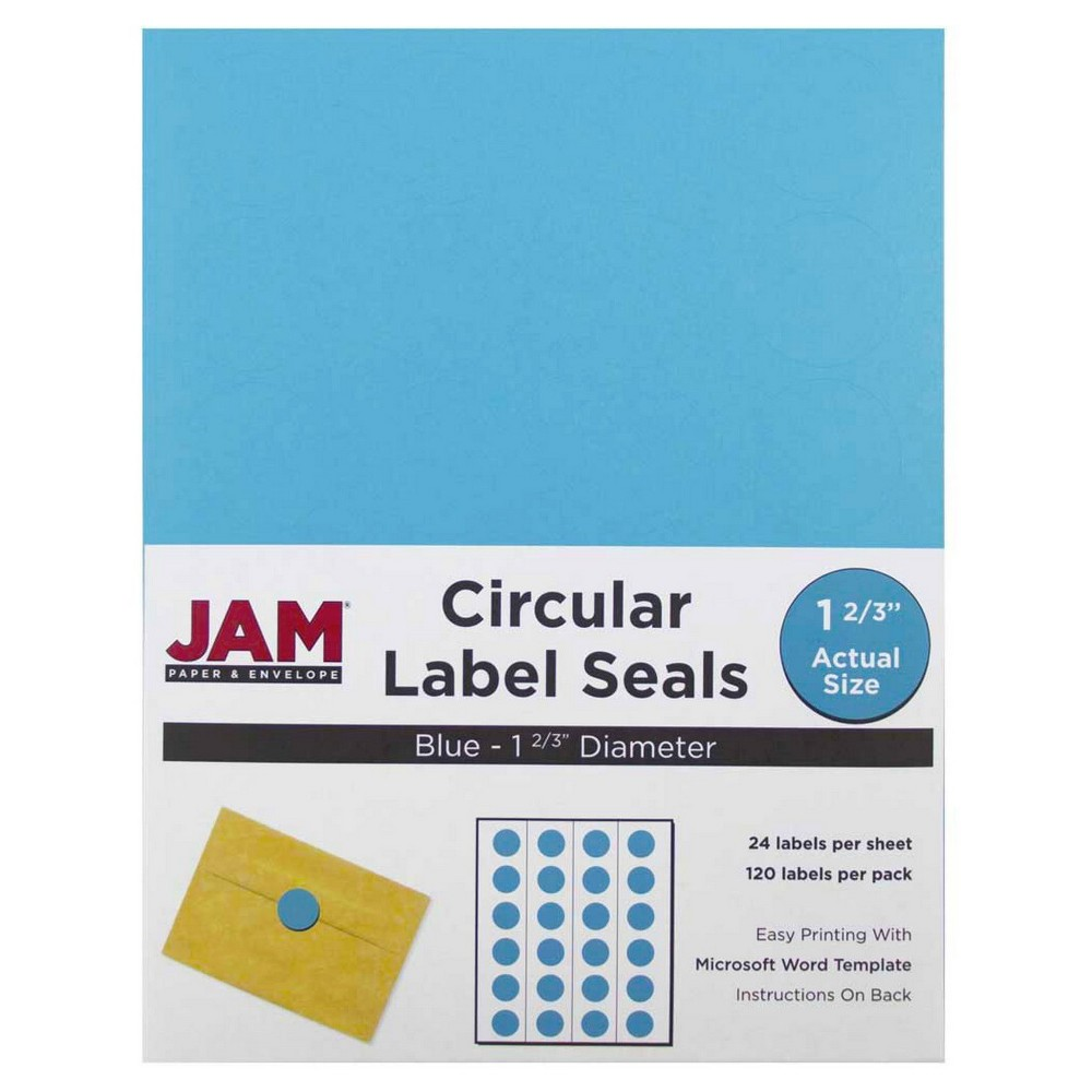 Jam Paper Circle Sticker Seals 1 2/3 120ct - Blue Jam Paper Round Circle Label Sticker Seals measure 1 2/3 inches in diameter and are sold on sheets of 24 labels. Each pack contains 5 sheets for a total of 120 labels per pack! These labels feature a light, soft, and inviting baby blue color that will give a peaceful and calm look to your mail. These labels are great for reinforcing envelopes, creating small price tags for yard sales, marking mail or items with initials, and more! Compatible with most printers, these labels can be customized in your own office or home. Additionally, they are easy to write on with most kinds of pens and markers. Try these round labels for your home or office needs. Age Group: Adult.