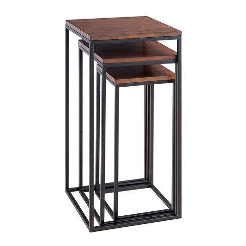 Set of 3 Murchway Square Nesting Tables Black/Espresso - Aiden Lane - image 1 of 4