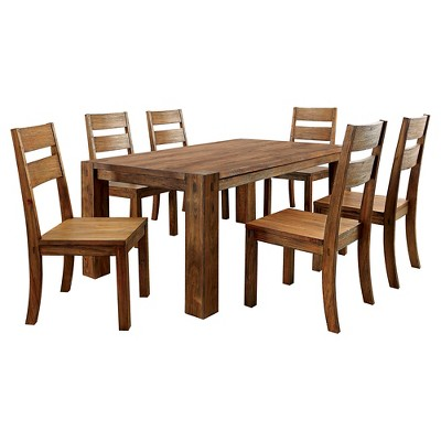 7pc ArsenioSturdy Dining Table Set Dark Oak - ioHOMES