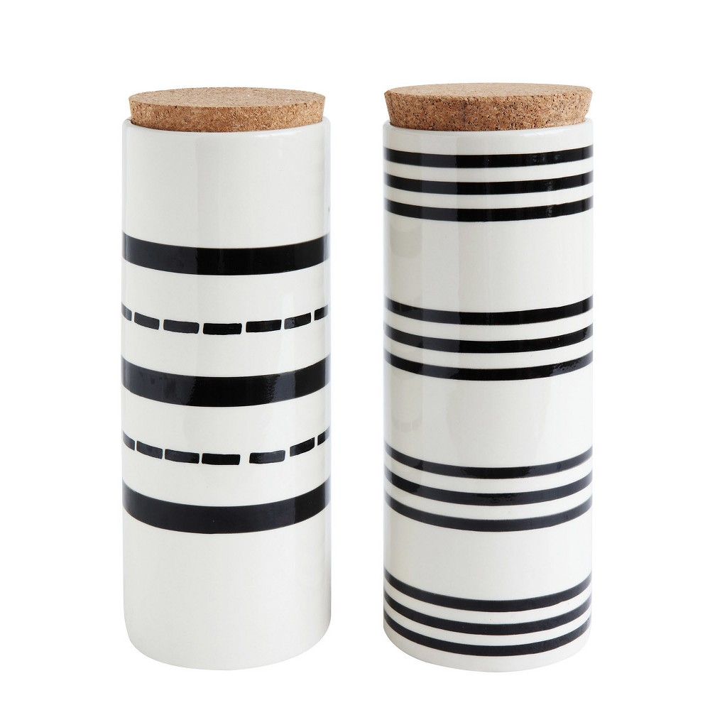 "Image of 12.2"" x 4.5"" 2pc Striped Stoneware Canister with Cork Lid Black/White - 3R Studios"